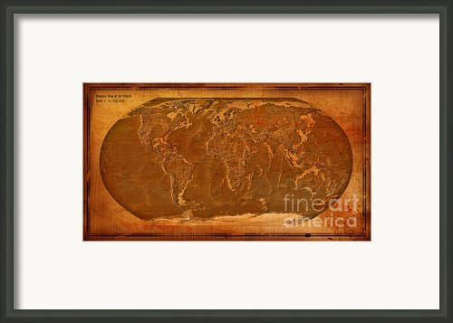 Physical Map Of The World Antique Style Framed Print By Teodora Atanasova