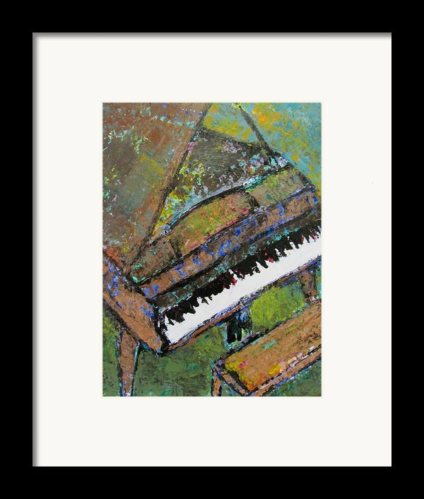 Piano Aqua Wall - Cropped Framed Print By Anita Burgermeister