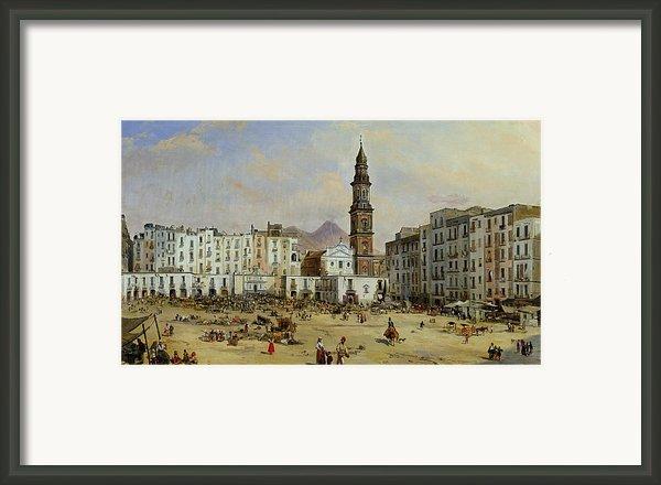 Piazza Mazaniello In Naples Framed Print By Jean Auguste Bard