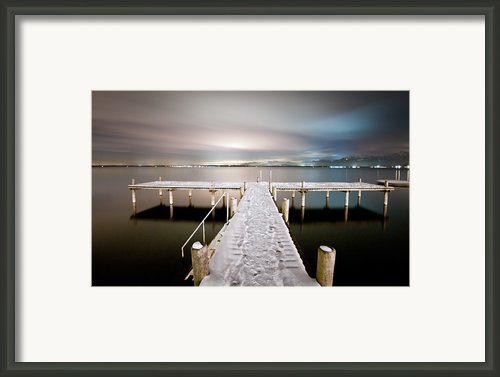 Pier At Night Framed Print By Daitozen