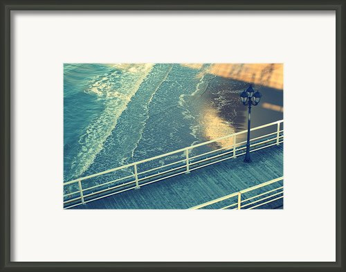 Pier With Lamp On Coast Of North Sea Framed Print By Photo By Ira Heuvelman-dobrolyubova