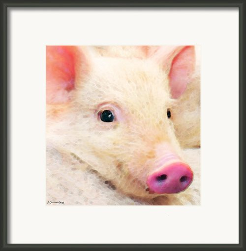 Pig Art - Pretty In Pink Framed Print By Sharon Cummings