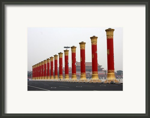 Pillars At Tiananmen Square Framed Print By Carol Groenen