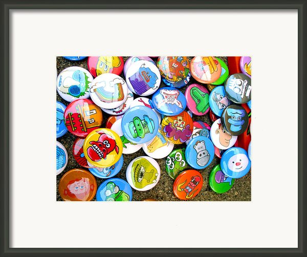 Pinback Buttons Framed Print By Jera Sky