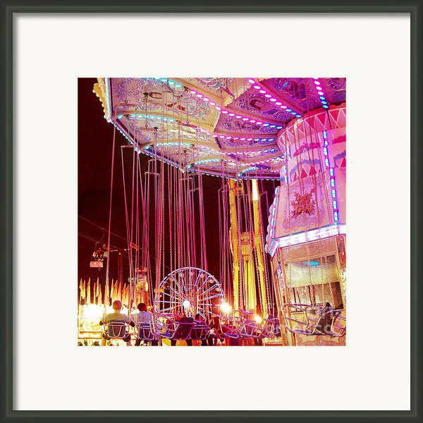 Pink Carnival Festival Ferris Wheel Night Ride Framed Print By Kathy Fornal