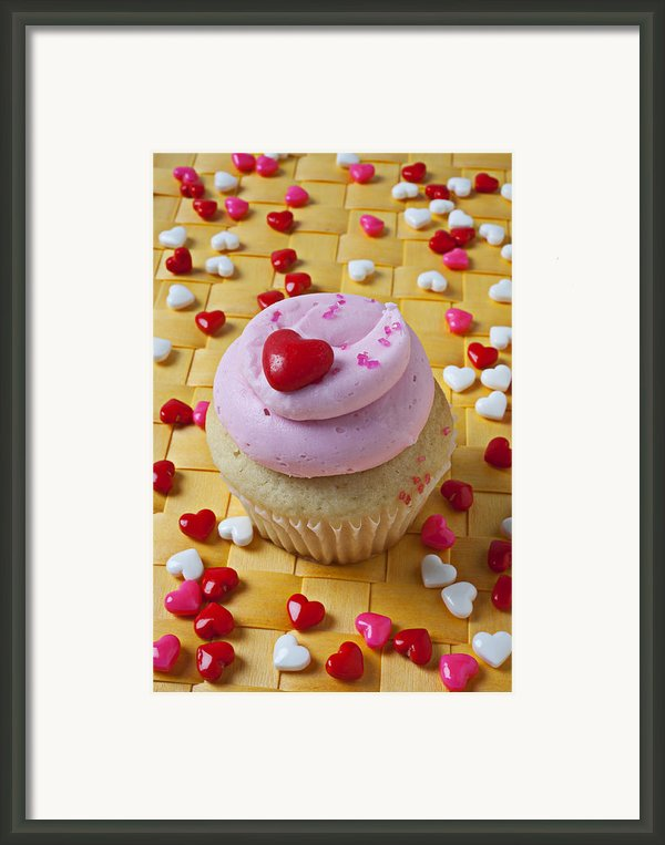 Pink Cupcake With Candy Hearts Framed Print By Garry Gay