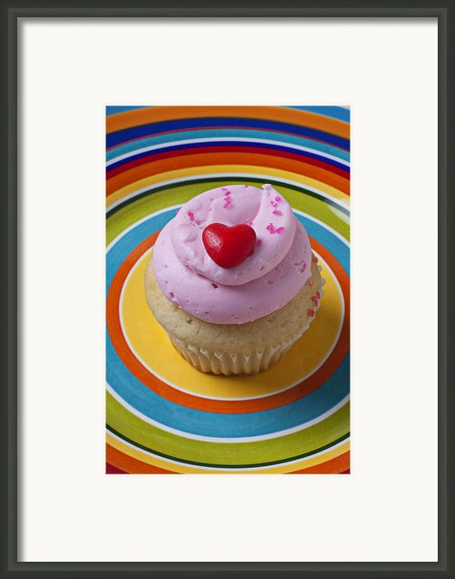 Pink Cupcake With Red Heart Framed Print By Garry Gay