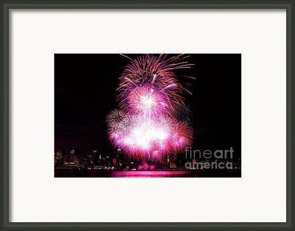 Pink Fireworks At Nyc Framed Print By Archana Doddi