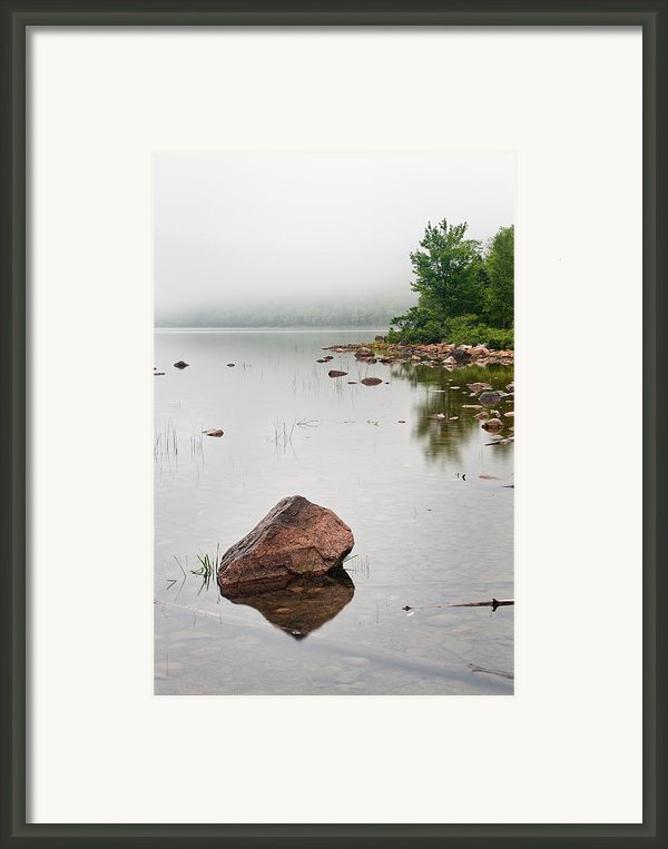 Pink Granite In Jordan Pond At Acadia Framed Print By Steve Gadomski