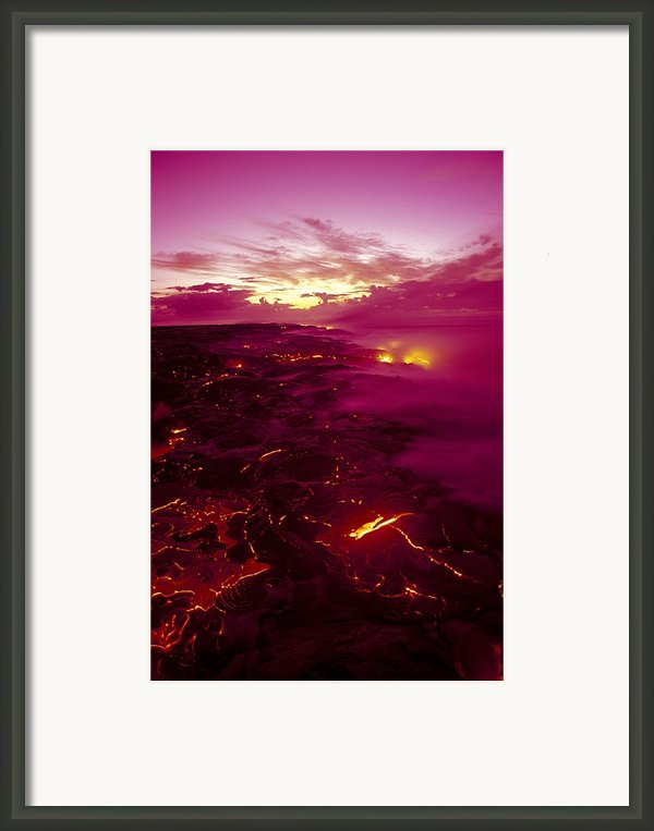 Pink Volcano Sunrise Framed Print By Ron Dahlquist - Printscapes