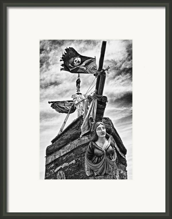Pirate Ship And Black Flag Framed Print By Garry Gay