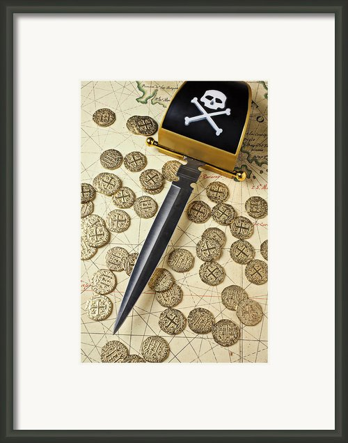 Pirate Sword And Gold Coins On Old May Framed Print By Garry Gay