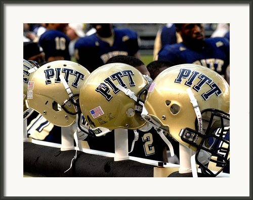 Pitt Helmets Awaiting Action Framed Print By Will Babin