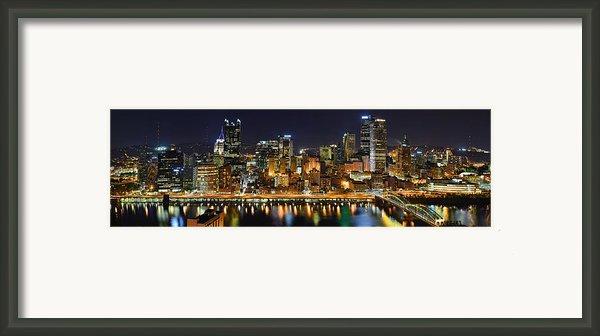 Pittsburgh Pennsylvania Skyline At Night Panorama Framed Print By Jon Holiday