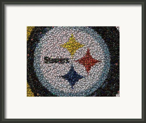 Pittsburgh Steelers  Bottle Cap Mosaic Framed Print By Paul Van Scott