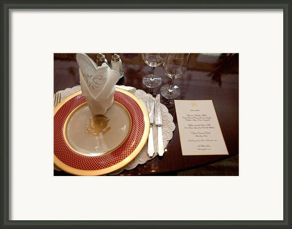 Place Setting Of The White House China Framed Print By Everett
