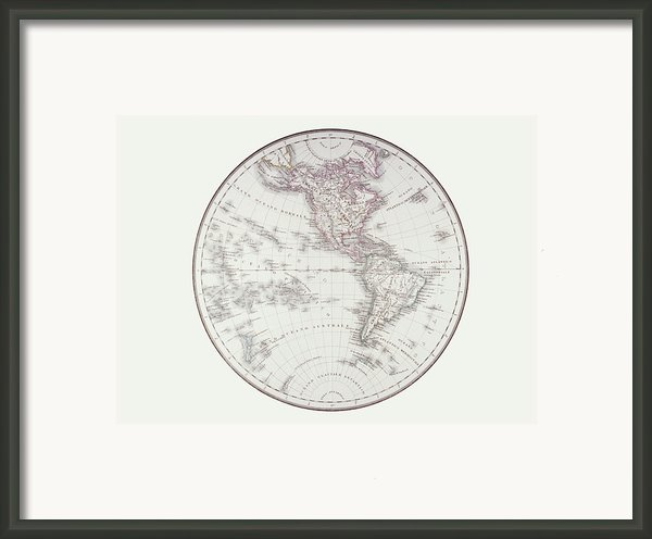 Planispheric Map Of The Western Hemisphere Framed Print By Fototeca Storica Nazionale