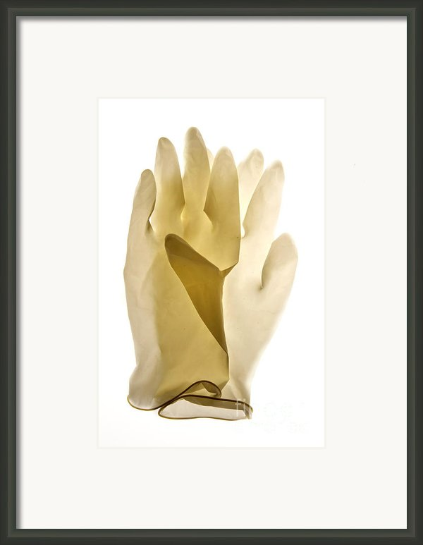Plastic Gloves Framed Print By Bernard Jaubert