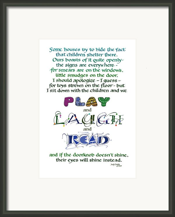 Play Laugh Read Framed Print By Judy Dodds