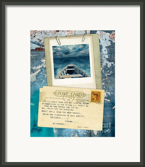 Poloroid Of Boat With Inspirational Quote Framed Print By Jill Battaglia