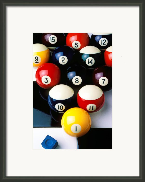 Pool Balls On Tiles Framed Print By Garry Gay