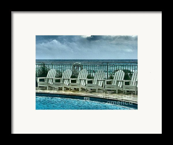Poolside With A View Framed Print By Julie Dant