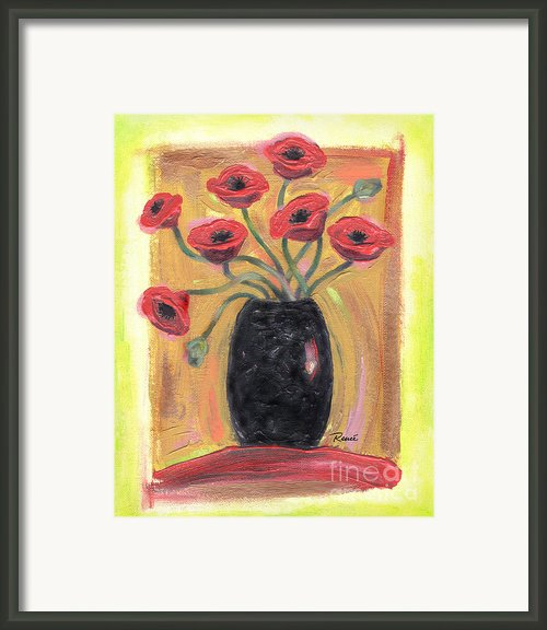 Poppies In Black Framed Print By Renee Womack