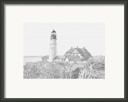 Portland Head Light Drawing Framed Print By Dominic White