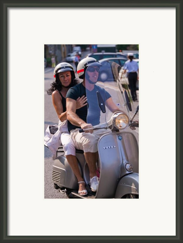 Portofino Scooter Couple Framed Print By Neil Buchan-grant