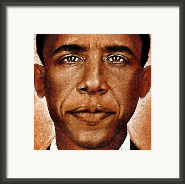 Portrait Of Barack Obama Framed Print By Martin Velebil