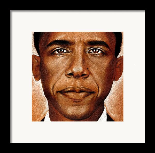Portrait Of Barack Obama Framed Print By Martin Velebil
