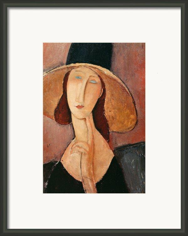 Portrait Of Jeanne Hebuterne In A Large Hat Framed Print By Amedeo Modigliani