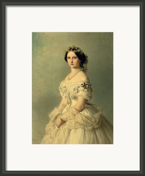 Portrait Of Princess Of Baden Framed Print By Franz Xaver Winterhalter