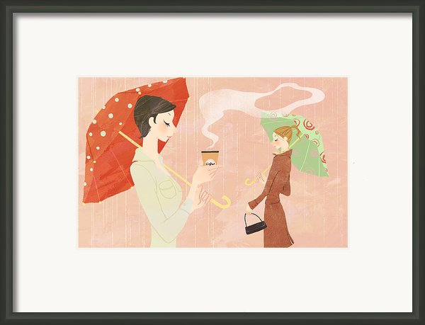 Portrait Of Young Woman In The Rain Holding Umbrella And A Takeaway Coffee Framed Print By Eastnine Inc.
