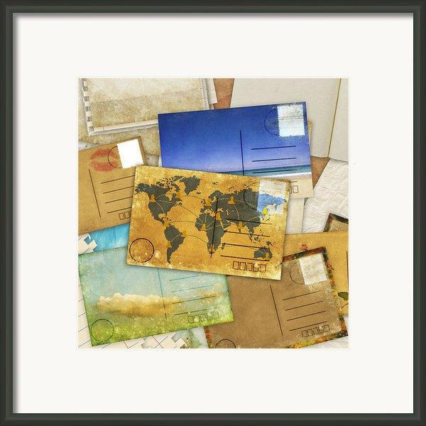 Postcard And Old Papers Framed Print By Setsiri Silapasuwanchai