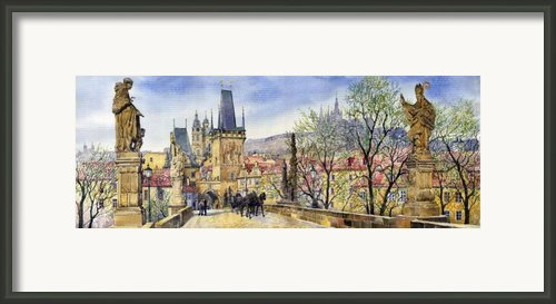 Prague Charles Bridge Spring Framed Print By Yuriy  Shevchuk