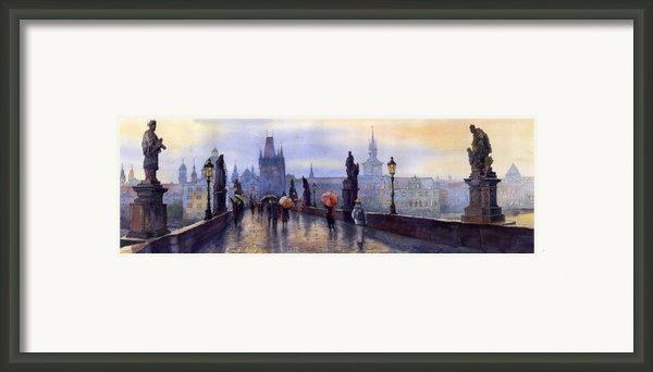 Prague Charles Bridge Framed Print By Yuriy  Shevchuk