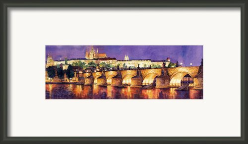 Prague Night Panorama Charles Bridge  Framed Print By Yuriy  Shevchuk