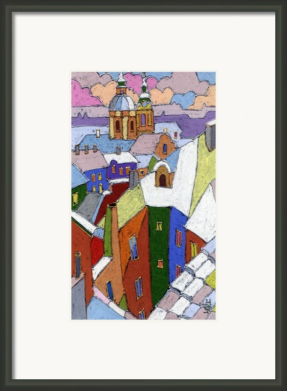 Prague Old Roofs Winter Framed Print By Yuriy  Shevchuk