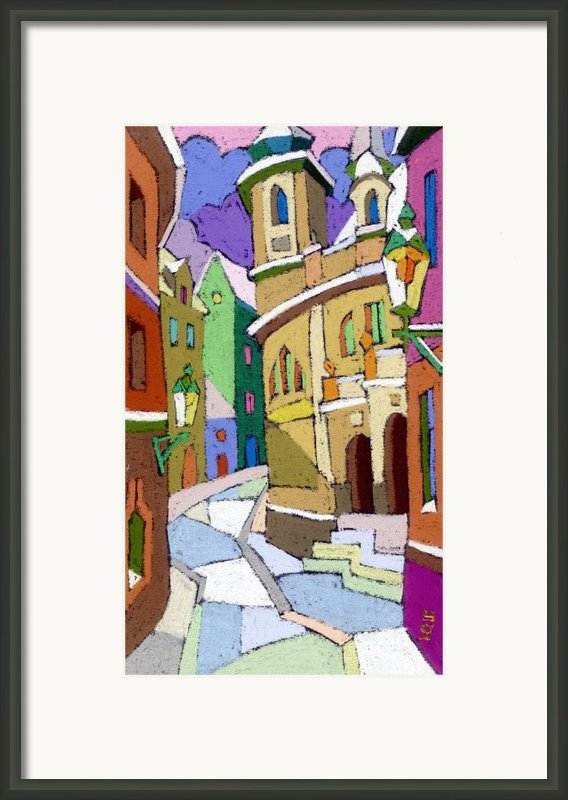 Prague Old Street Karlova Winter Framed Print By Yuriy  Shevchuk