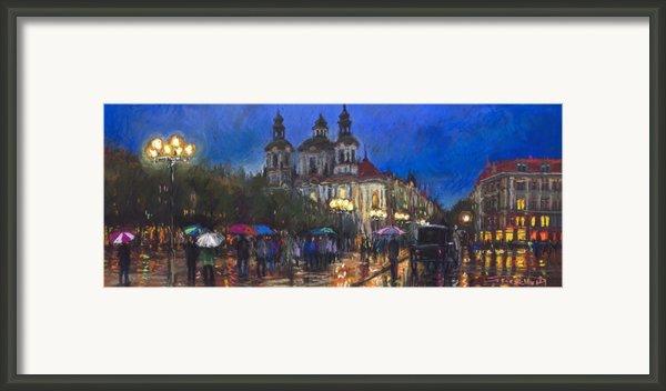 Prague Old Town Square St Nikolas Ch Framed Print By Yuriy  Shevchuk