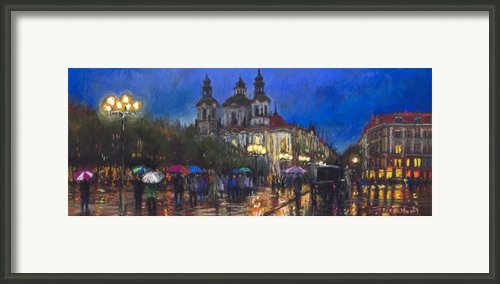 Prague Old Town Square St Nikolas Ch Framed Print By Yuriy  Shevchuk