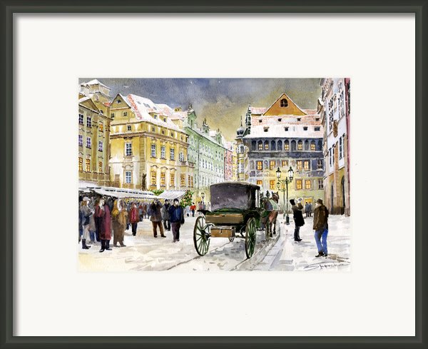 Prague Old Town Square Winter Framed Print By Yuriy  Shevchuk
