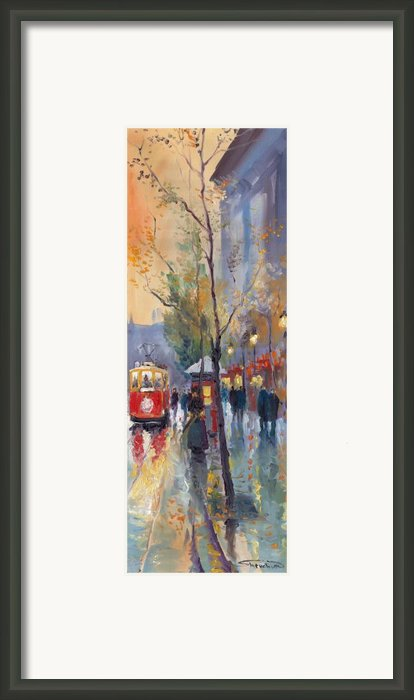 Prague Old Tram Vaclavske Square Framed Print By Yuriy  Shevchuk