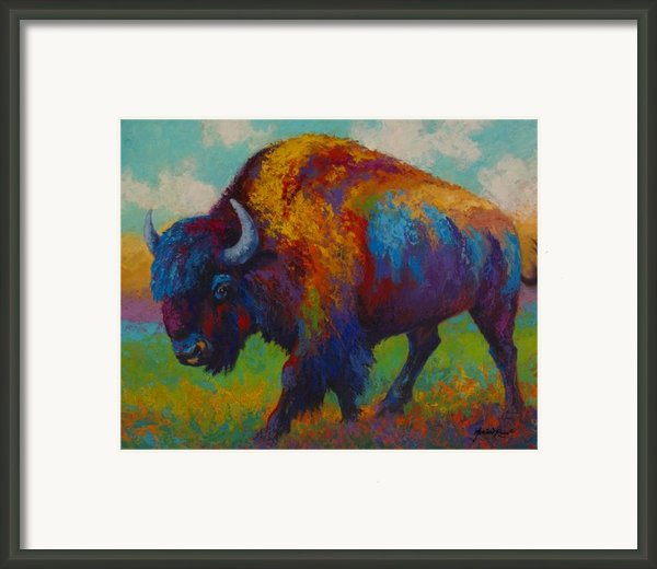 Prairie Muse - Bison Framed Print By Marion Rose