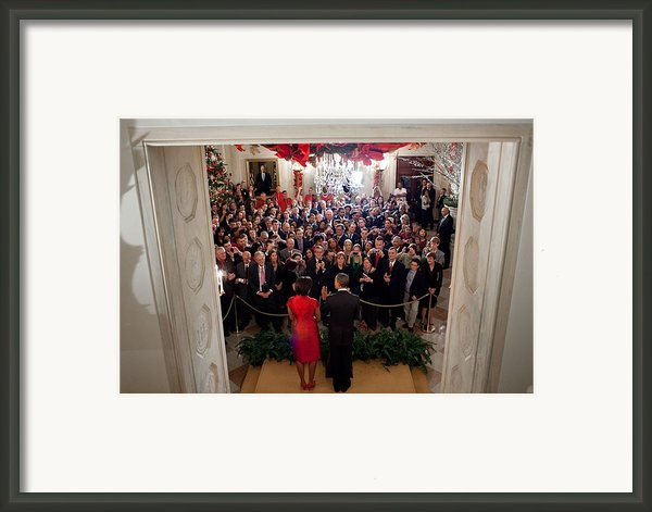 President And Michelle Obama Address Framed Print By Everett