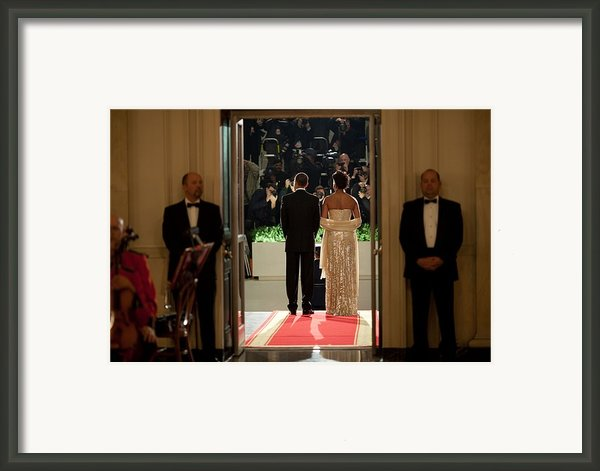 President And Michelle Obama Face Framed Print By Everett