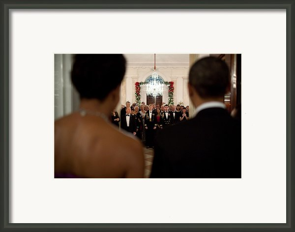 President And Michelle Obama Face White Framed Print By Everett