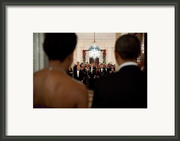 President And Michelle Obama Face White Framed Print By Everett