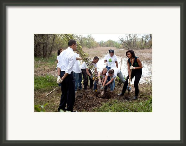 President And Michelle Obama Help Plant Framed Print By Everett